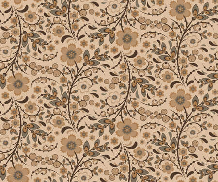 hohloma: Seamless floral pattern with ornamental flowers in Khokhloma style. Floral design. Traditional russian Hohloma ornament with flowers. Beige retro colors. Vector illustration