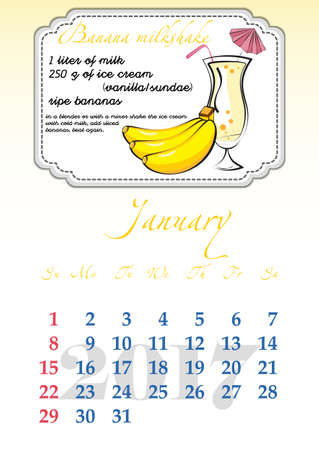 dates fruit: Calendar design grid with recipes for fruit cocktails, smoothies, fruit drinks, lemonades, juices and dates of winter month January 2017. Vector illustration