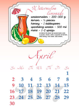 dates fruit: Calendar design grid with recipes for fruit cocktails, smoothies, fruit drinks, lemonades, juices and dates of spring month April 2017. Vector illustration