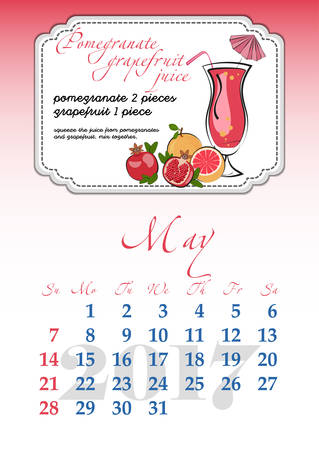 dates fruit: Calendar design grid with recipes for fruit cocktails, smoothies, fruit drinks, lemonades, juices and dates of spring month May 2017. Vector illustration