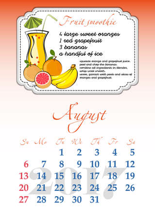 dates fruit: Calendar design grid with recipes for fruit cocktails, smoothies, fruit drinks, lemonades, juices and dates of summer month August 2017. Vector illustration