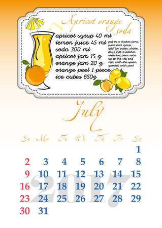 dates fruit: Calendar design grid with recipes for fruit cocktails, smoothies, fruit drinks, lemonades, juices and dates of summer month July 2017. Vector illustration