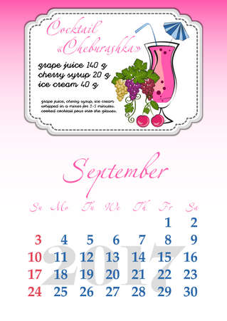 dates fruit: Calendar design grid with recipes for fruit cocktails, smoothies, fruit drinks, lemonades, juices and dates of autumn month September 2017. Vector illustration Illustration