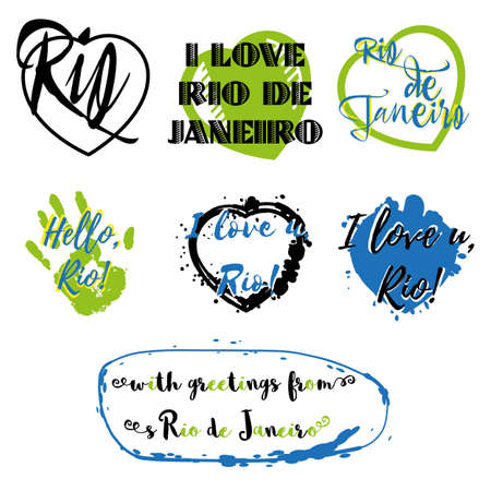 souvenir: Set of labels with lettering about Rio de Janeiro and heart paint splashes in black, green and blue on white. Collection of souvenir prints for fabric textiles, clothing, shirts. Vector illustration