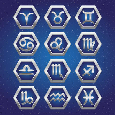 aquarian: Set of cosmic icons with signs of Zodiac on deep blue starry sky. Symbols of zodiac horoscope. Vector illustration