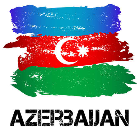 azerbaijanian: Flag of Azerbaijan from brush strokes isolated on white background. Vector illustration