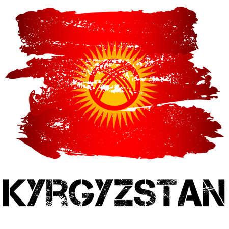kirgizia: Flag of Kyrgyzstan from brush strokes isolated on white background. Vector illustration Illustration