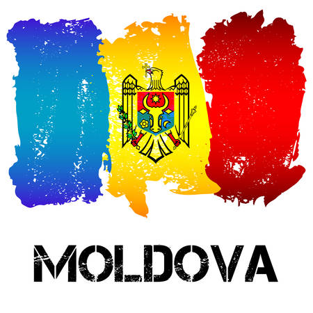 moldovan: Flag of Moldova from brush strokes isolated on white background. CIS country. Vector illustration Illustration