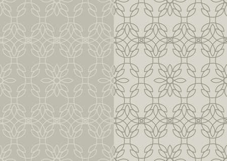 Seamless patterns with abstract stained glass ornament in grey colors. Kaleidoscope background in two variants. Vector illustration
