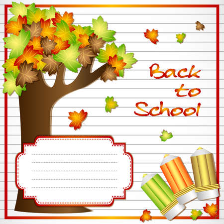maple tree: School notebook background with maple tree and school pencils on page of copybook in line. Back to school. Vector illustration