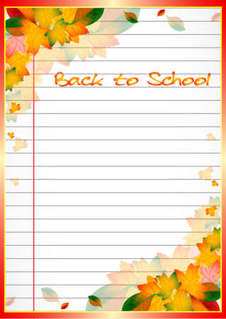 School notebook background with yellow and orange autumn leaves on page of copybook in line. Back to school. Vector illustration 向量圖像