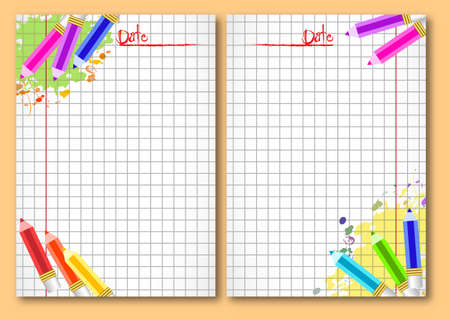 school notebook: School notebook facing pages with colorful pencils and paint blots on page of copybook in cage. Back to school. Vector illustration