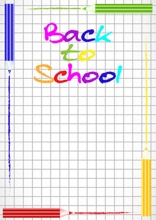 perimeter: School background with colorful pencils on perimeter as frame on page of notebook in cage. Back to school. Vector illustration Illustration