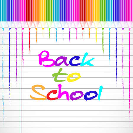 master page: School background with colorful pencils from top on page of notebook in line. Back to school. Vector illustration