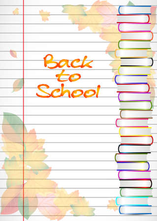 master page: School notebook background with yellow and orange autumn leaves and stack of books on page of copybook in line. Back to school. Vector illustration