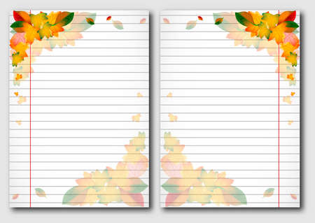 facing: School notebook facing pages with yellow autumn leaves on page of copybook in line. Back to school. Vector illustration