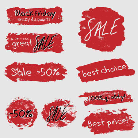 smears: Sale grunge stickers set with red smears. Lettering and calligraphic design elements imitating writing by hand and brush strokes in grey, red and black. Biggest discounts. Vector illustration
