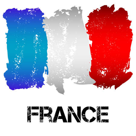 Flag of France from brush strokes in grunge style isolated on white background. Country in Western Europe. Vector illustration
