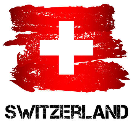 confederation: Flag of Switzerland from brush strokes in grunge style isolated on white background. Country in Western Europe. Vector illustration Illustration