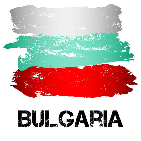 eastern europe: Flag of Bulgaria from brush strokes in grunge style isolated on white background. Country in Eastern Europe. Vector illustration Illustration