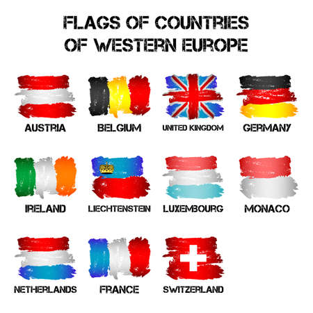 Set of flags of Western Europe countries from brush strokes in grunge style isolated on white background. Ensigns of 11 Western Europe member states. Vector illustration Illustration