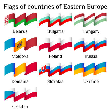 eastern europe: Set of flying flags of Eastern Europe countries in waves isolated on white background. Ensigns of 10 Eastern Europe member states. Vector illustration