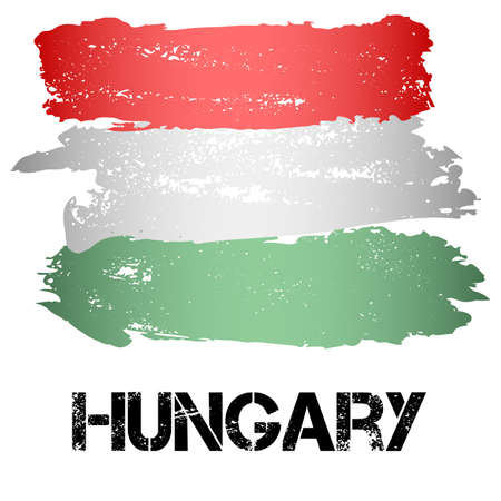 ensign: Flag of Hungary from brush strokes in grunge style isolated on white background. Country in Eastern Europe. Vector illustration