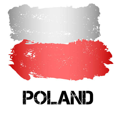 eastern europe: Flag of Poland from brush strokes in grunge style isolated on white background. Country in Eastern Europe. Vector illustration
