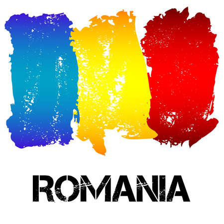 rumania: Flag of Romania from brush strokes in grunge style isolated on white background. Country in Eastern Europe. Vector illustration