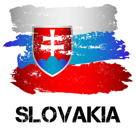 eastern europe: Flag of Slovakia from brush strokes in grunge style isolated on white background. Country in Eastern Europe. Vector illustration Illustration