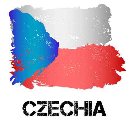 eastern europe: Flag of Czechia from brush strokes in grunge style isolated on white background. Country in Eastern Europe. Vector illustration