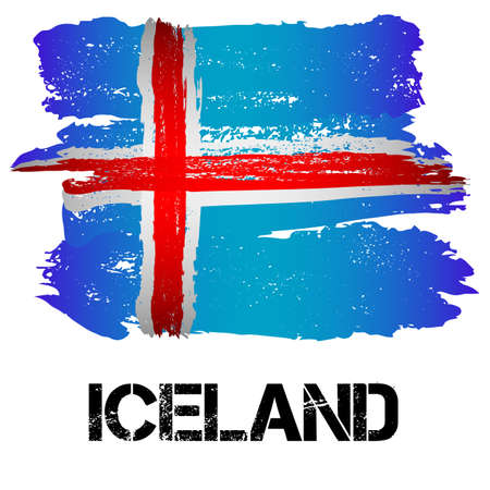 Flag of Iceland from brush strokes in grunge style isolated on white background. Country in Northern Europe. Vector illustration
