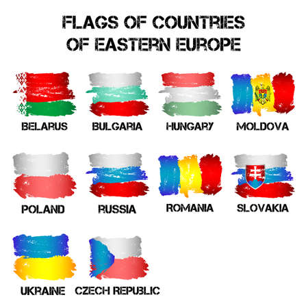 Conjunto de banderas de los países de Europa del Este de pinceladas en el estilo grunge aisladas sobre fondo blanco. Enseñas de 10 estados miembros de Europa del Este. ilustración vectorial