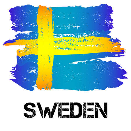sverige: Flag of Sweden from brush strokes in grunge style isolated on white background. Country in Northern Europe. Vector illustration