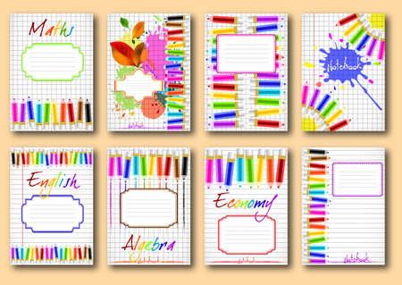 Set of school notebook covers with colorful pencils and label for signing on page of copybook in cage and lines. Back to school.
