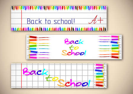 copybook: School banners with colorful pencils on page of copybook in cage and line. Back to school.
