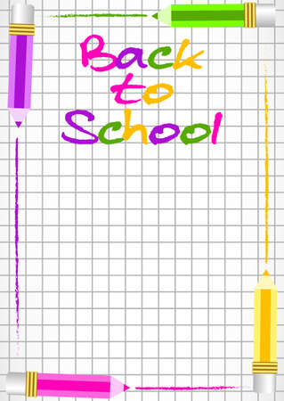 perimeter: School background with colorful pencils on perimeter as frame on page of notebook in cage. Back to school