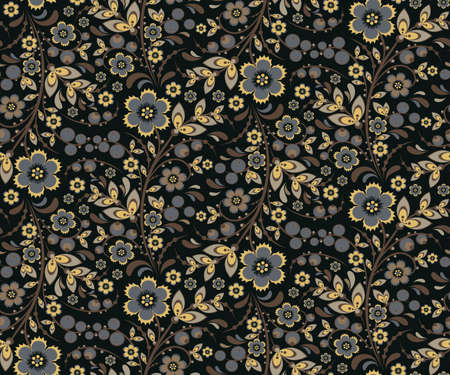 retro flowers: Seamless floral pattern with ornamental flowers in Khokhloma style. Floral design. Traditional russian Hohloma ornament with flowers. Vintage retro variant in black colors.