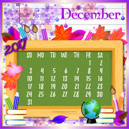 Calendar design grid with green chalkboard and school supplies on page of copybook in line. Back to school background with dates of winter month December 2017. Vector illustration