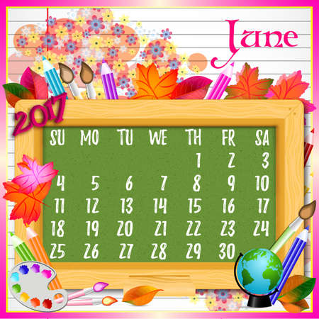 copybook: Calendar design grid with green chalkboard and school supplies on page of copybook in line. Back to school background with dates of summer month June 2017. Vector illustration Illustration