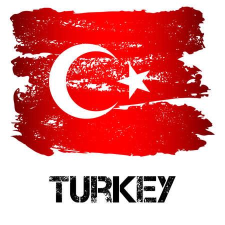 Bandera de Turquía de pinceladas en estilo grunge aislado sobre fondo blanco. País en las fronteras de Europa y Asia. Ilustración vectorial