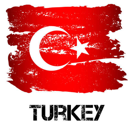 Flag of Turkey from brush strokes in grunge style isolated on white background. Country on borders of Europe and Asia. Vector illustration Illustration