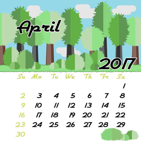 seasonal forest: Calendar design grid with seasonal forest in flat style and dates of spring month April 2017. Vector illustration