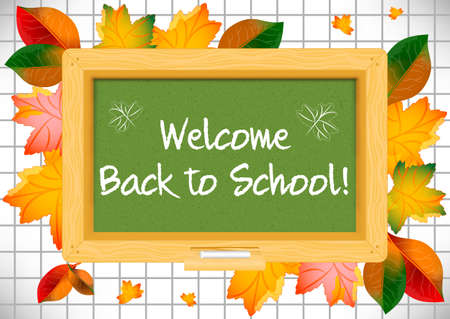 schoolmaster: Postcard for Knowledge Day. Back to school. Green school board and autumn leaves around on page of notebook in cage with greeting written by white chalk. Vector illustration
