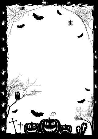 Holiday card on theme of Halloween. Black frame with pumpkins, bats and spiders on gossamers at cemetery on white. Trick or treat. Vector illustration Stock Illustratie