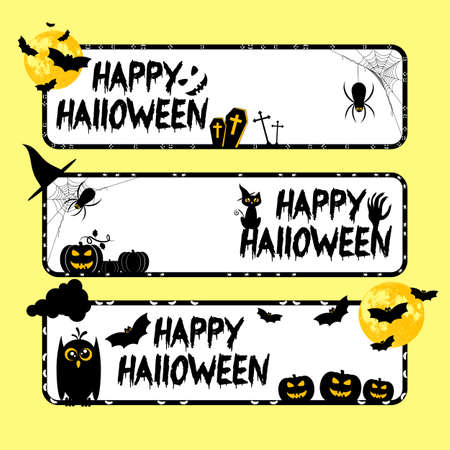 Holiday banners on theme of Halloween. Black frames with pumpkins, bats and spiders and white background. Trick or treat vector illustration Illustration