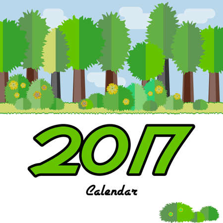 Calendar design cover with seasonal forest in flat style for 2017 year. Vector illustration
