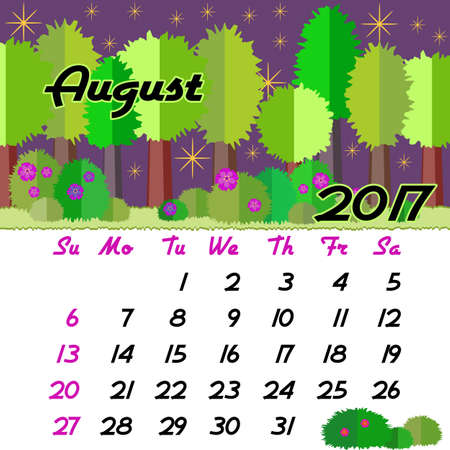 seasonal forest: Calendar design grid with seasonal forest in flat style and dates of summer month August 2017. Vector illustration