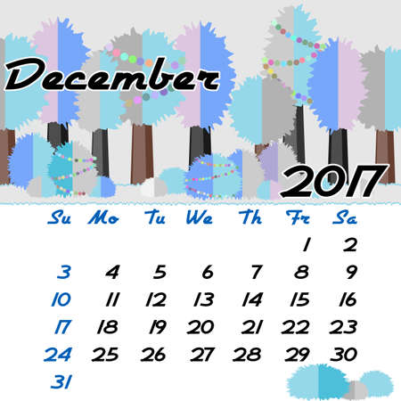 seasonal forest: Calendar design grid with seasonal forest in flat style and dates of winter month December 2017. Vector illustration