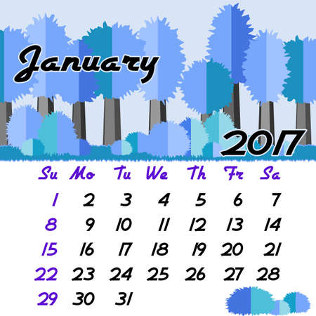 seasonal forest: Calendar design grid with seasonal forest in flat style and dates of winter month January 2017. Vector illustration